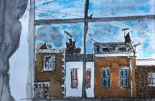 "Daily Creative by Sandrine Joseph ""From My Window I Can See the Sky, Electric Cables, Houses."" The Heart Family"