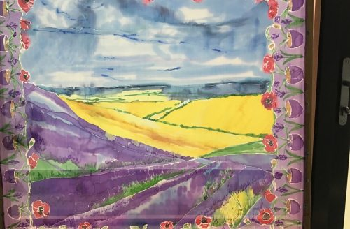 "Daily Creative By Jane Ryan ""The Lavender Fields in Hitchin"" Silk Painting"
