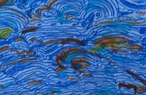 "Daily Creative by Vivienne Joffe ""Blue Chi Waves"" Felt-Nib-Pen on Paper"