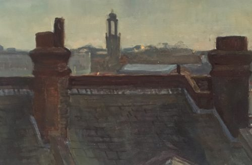 David Caldwell Painting of Roof Tops