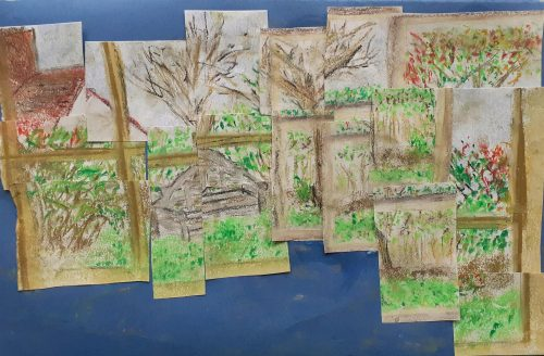 "Daily Creative by Linda Freedman ""Window Collage"" Dry Pastels"